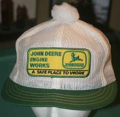 Vintage John Deere Engine Works Hat Cap All Mesh with Patch & Ball on top!