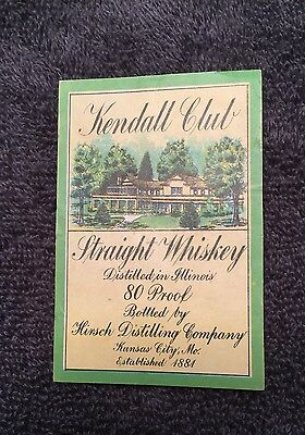 Kendall Club Whiskey Label- Kansas City, MO!!