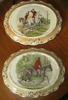 A Pair Of Pot Stands Featuring The Hunt Circa 1890.