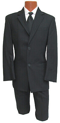 Mens Black Two Button Suit with Pants Wedding Semi-Formal Business Job Interview