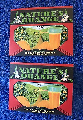 2 Nature's Orange Soda Labels- Wallace, Idaho !!