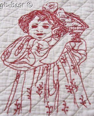Beautiful PA c 1890-1900 Redwork QUILT 6 baby girls Antique Signed LUSH quilting