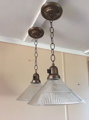Antique Pair Holophane Conical Pendant Lights Industrial 1940s