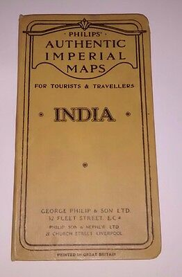 Vintage 1930s Philips folding cloth travellers' map of India, hardback cover