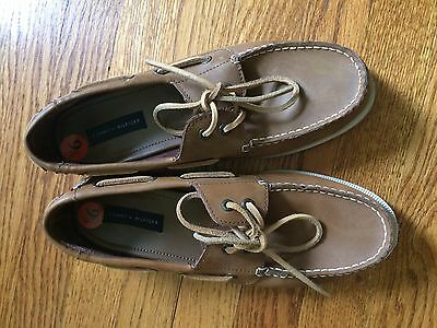 Tommy Hilfiger tan leather men's casual boat shoes size 9.5
