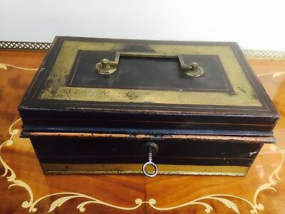 Victorian Metal Cash/Coins Box & Key, Storage, Money