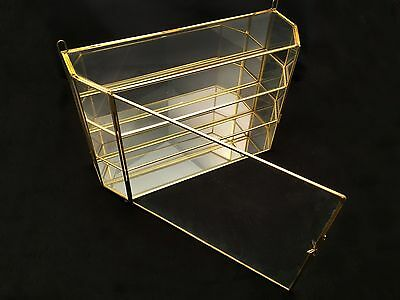 VTG Brass Glass Mirror * LARGE DISPLAY CASE * Wall Shelf Curio Cabinet Box