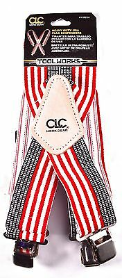 "CLC WORK GEAR Heavy Duty USA Flag Suspenders Adjustable 2"" Wide #110USA >NEW<"