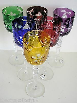 "AJKA MAGDA'S PRIDE MULTI COLOR CASED CUT CRYSTAL 9 3/4"" WINE GOBLETS Set of 6"