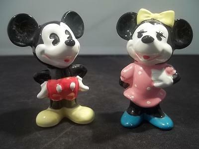 """Vintage Pr  Disney 2 3/4"""" H Mickey And Minnie Mouse Figurines No Cracks / Chips"""