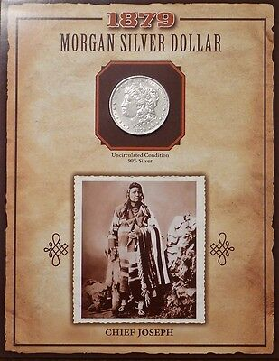 1879 P Morgan Silver Dollar PCS LEGENDS OF WEST W/STAMP CHIEF JOSEPH BONUS ITEM