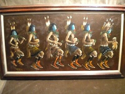 "Original 1973 Robert Yellowhair  Oil Painting "" Kachinas Navajo Yei"" 32 X 55"
