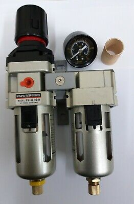 Air Pressure Regulator with Double Filter 1/4 Bsp Perfect for Paint Spraying