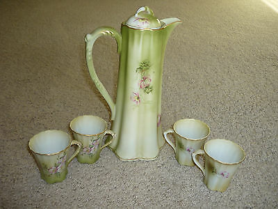 Lovely Vintage Porcelain Midcentury Chocolate Pot,  Lid, 4 Cups/ / Excellent!