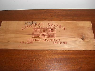 1989 Wood Panel From Chateau Brown Wine Crate Pessac Leognan France