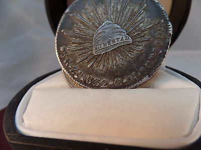 1832 Zs SILVER MEXICO 8 REALES  CAP & RAYS COIN  ZACATECAS MINT (MISTRUCK DATE)