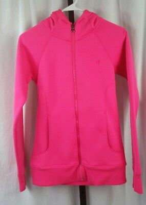 Under armour womens semi fitted hoodie sweatshirt sz xs zip up jacket hot pink