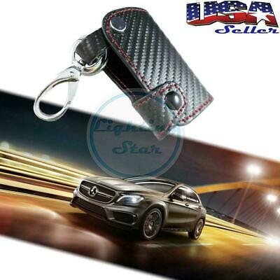 Carbon Fiber 3D SmartKey Fob Remote Case Holder Cover KeyChain For BMW Benz Audi