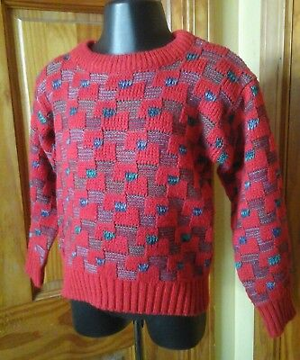 Boys Vintage 3T Red Checked Acrylic Sweater 3T