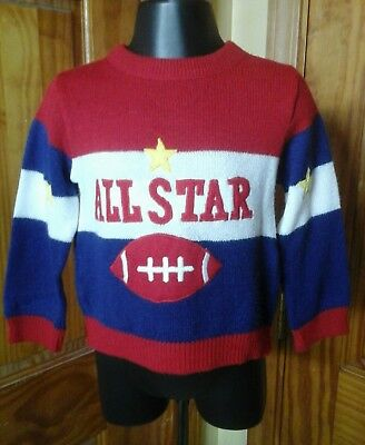 Boys Toddler 3T Vintage  Football  Zip Neck Sweater