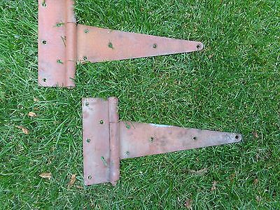 "Large Pair Antique~Vintage 15"" Rustic T Hinge Strap Barn Rustic Door Red"