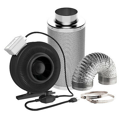 """VIVOSUN 6"""" Inline Duct Fan w/ Speed Controller& Carbon Filter& 8FT Ducting Combo"""