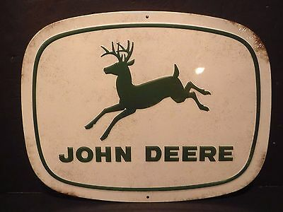 "John Deere Embossed Rustic Look Metal Sign ""Running  Deere"" New Collectible Sign"