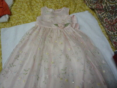 Girls pink flowers Cinderella party wedding sleeveless dress size 6