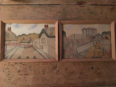 Small pair Of Vintage Isle Of Wight Sand Pictures, Shanklin, Carisbrooke Castle