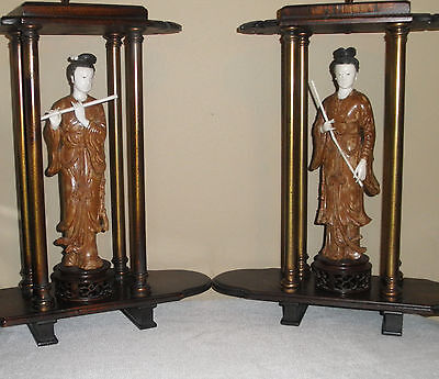Fine Pair Of Chinese Carved Lacquer Beauty Playing Flute Figures Statues