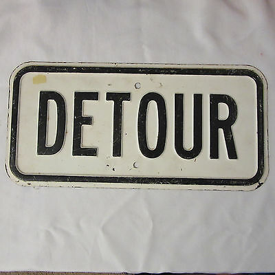 Vintage Detour Sign Original Porcelain Black And White 16 1/2 X 8 In. RARE