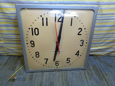 "Estate* Vintage Rauland-Borg National Time Wall Clock 12"" Square Silver Face"