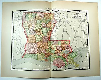 Original 1895 Map of Louisiana by Rand McNally