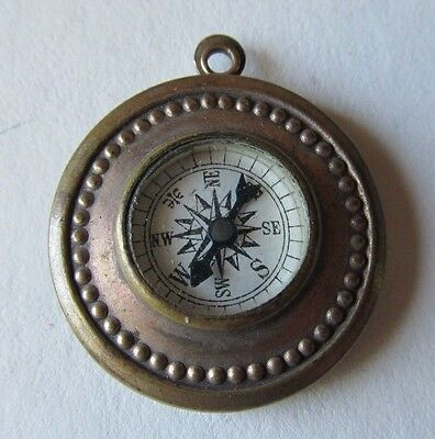 Antique Authentic WWI Era WORKING COMPASS PENDANT Gold Plated