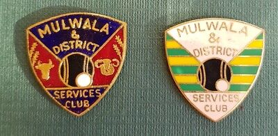 2× Collectable Mulwala Bowls Club Badges **BACKS REMOVED**