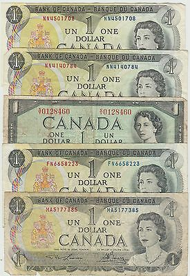Canada, Lot of 5 $1.00 Notes