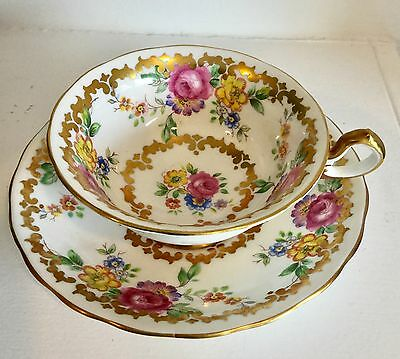 Vintage Royal Chelsea English Wide Mouth Cup Saucer, Lavish Gold with Roses