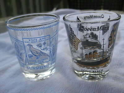 Lot Of 2 Vintage Shot Glasses - Queen Mary And South Dakota - Never Used