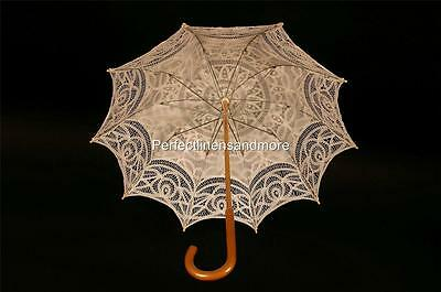 White Battenburg Lace Parasol with curved Handle