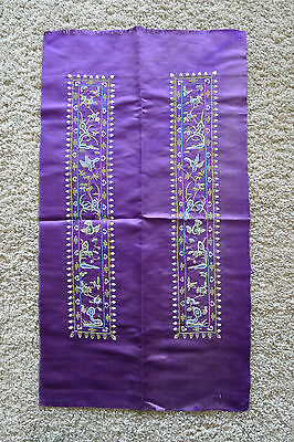 Very fine forbidden stitched old Chinese silk sleeveband pair panel