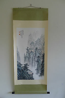 Beautiful Chinese scroll painting on paper by Zhang Daxin