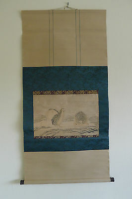 Old Japanese scroll painting on paper attributed to Kano Tanyu