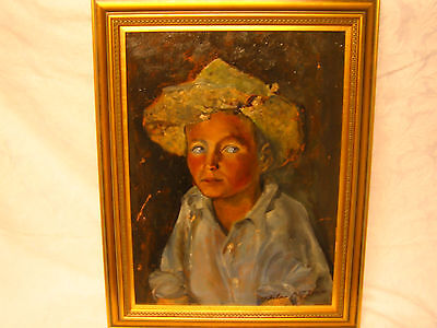 """Vintage Oil On Board Painting  Portrait By American Artist T Thomas """"dinty"""""""