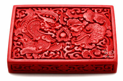 Chinese Flower Red Cinnabar Lacquer Dragon Phoenix Jewelry Business card Box