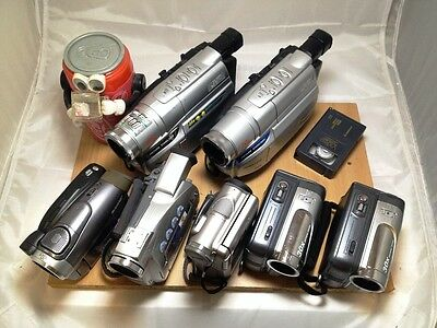 7x Sony JVC Canon miniDV Digital DVD SVHSC Camcorder CAMERA Lots AS IS FOR PARTS