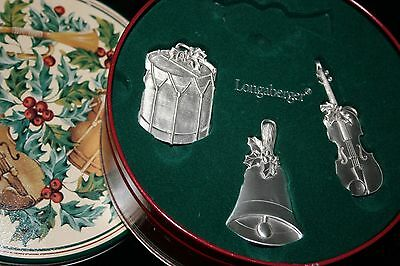 LONGABERGER 2003 Sounds of the Season 3 Pewter Ornaments in Tin & 1999 Snowman