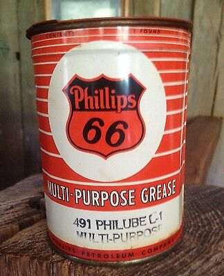 Vintage Phillips 66 1 lb can of Philube Multi purpose Grease unopened