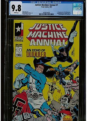 Justice Machine Annual #1 Cgc 9.8 White Pages 1St Appearance Of Elementals 1983