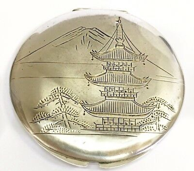"""950""""Vintage Sterling Silver Art Deco Japanese Powder Compact"""