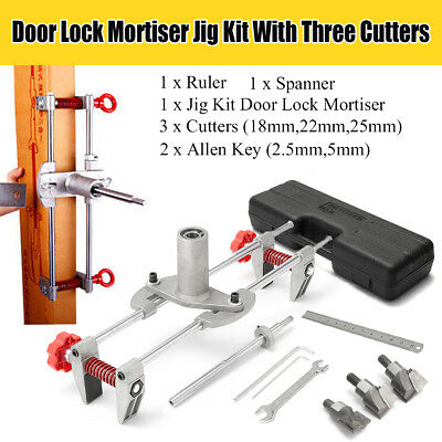 8Pcs Mortice Door Fitting Jig Lock Mortiser DBB Key JIG1 With 3 Cutters Case NEW